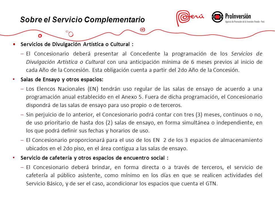 Servicios de Divulgación Artística o Cultural : –El Concesionario deberá presentar al Concedente la programación de los Servicios de Divulgación Artís