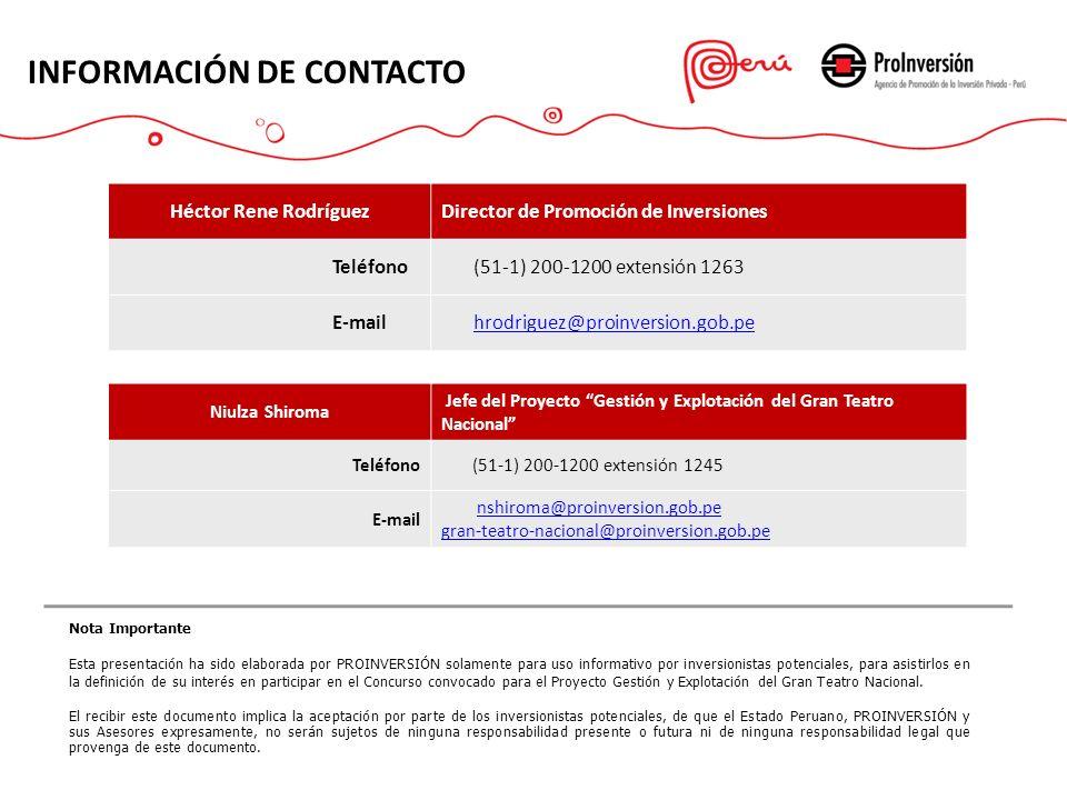 INFORMACIÓN DE CONTACTO Héctor Rene RodríguezDirector de Promoción de Inversiones Teléfono (51-1) 200-1200 extensión 1263 E-mail hrodriguez@proinversi