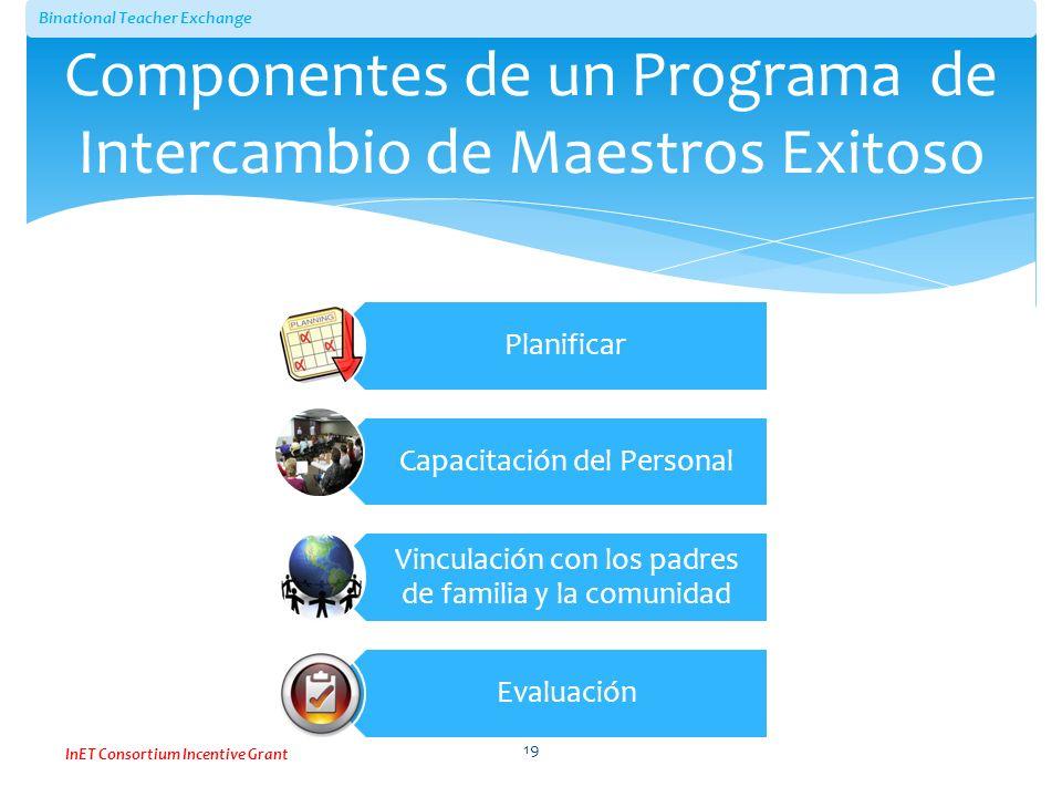 Binational Teacher Exchange InET Consortium Incentive Grant Componentes de un Programa de Intercambio de Maestros Exitoso Planificar Capacitación del