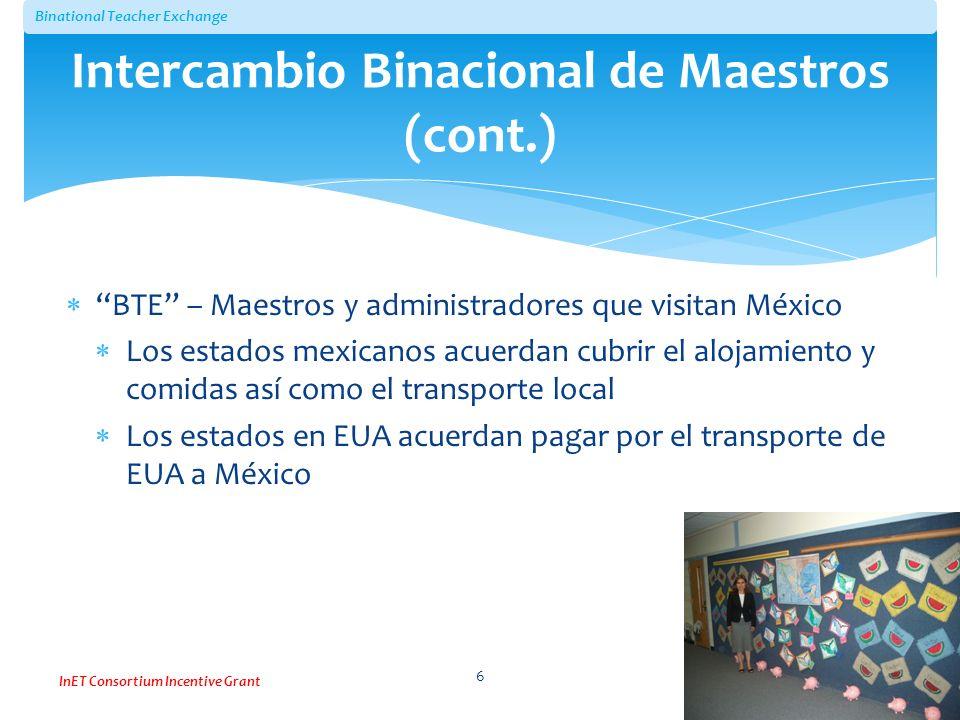 Binational Teacher Exchange InET Consortium Incentive Grant BTE – Maestros y administradores que visitan México Los estados mexicanos acuerdan cubrir