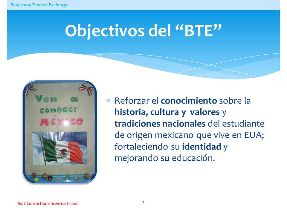 Binational Teacher Exchange InET Consortium Incentive Grant Reforzar el conocimiento sobre la historia, cultura y valores y tradiciones nacionales del