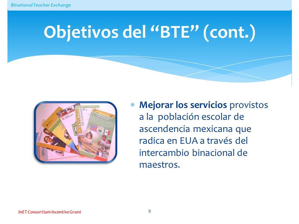 Binational Teacher Exchange InET Consortium Incentive Grant Mejorar los servicios provistos a la población escolar de ascendencia mexicana que radica