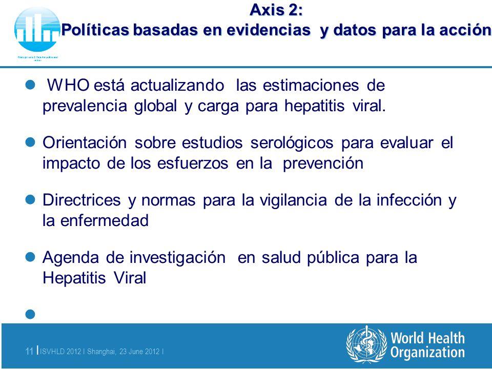 ISVHLD 2012 I Shanghai, 23 June 2012 I 11 | Axis 2: Políticas basadas en evidencias y datos para la acción WHO está actualizando las estimaciones de p