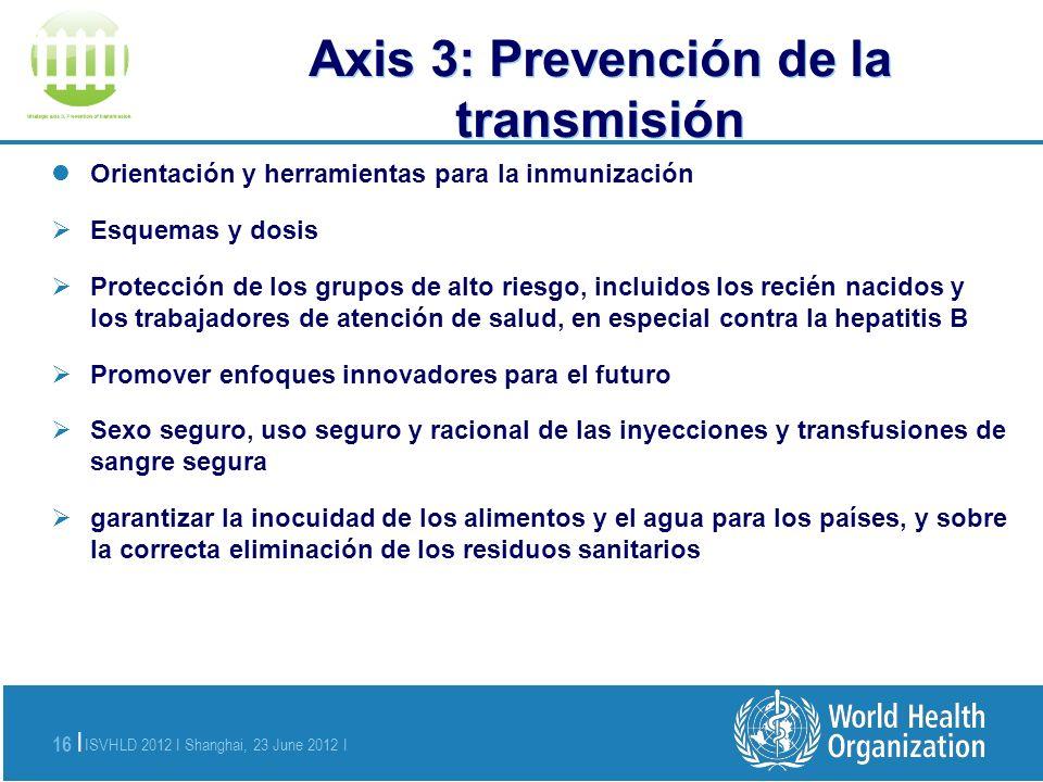 ISVHLD 2012 I Shanghai, 23 June 2012 I 16 | Axis 3: P Orientación y herramientas para la inmunización Esquemas y dosis Protección de los grupos de alt