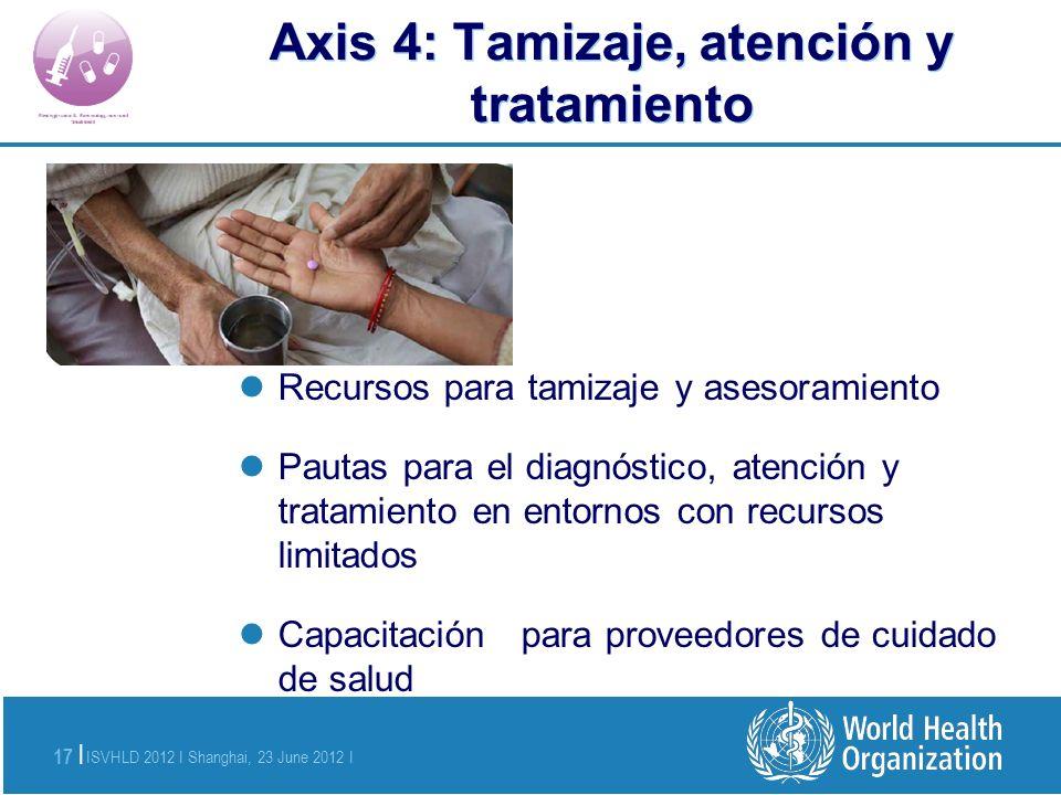 ISVHLD 2012 I Shanghai, 23 June 2012 I 17 | Axis 4: Tamizaje, atención y tratamiento Recursos para tamizaje y asesoramiento Pautas para el diagnóstico