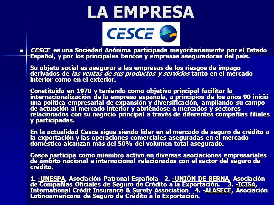 LA EMPRESA CESCE es una Sociedad Anónima participada mayoritariamente por el Estado Español, y por los principales bancos y empresas aseguradoras del país.