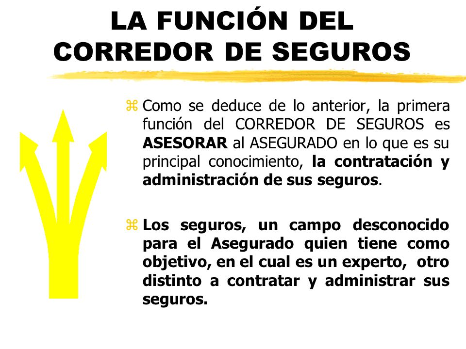 LA FUNCIÓN DEL CORREDOR DE SEGUROS z Como se deduce de lo anterior, la primera función del CORREDOR DE SEGUROS es ASESORAR al ASEGURADO en lo que es s