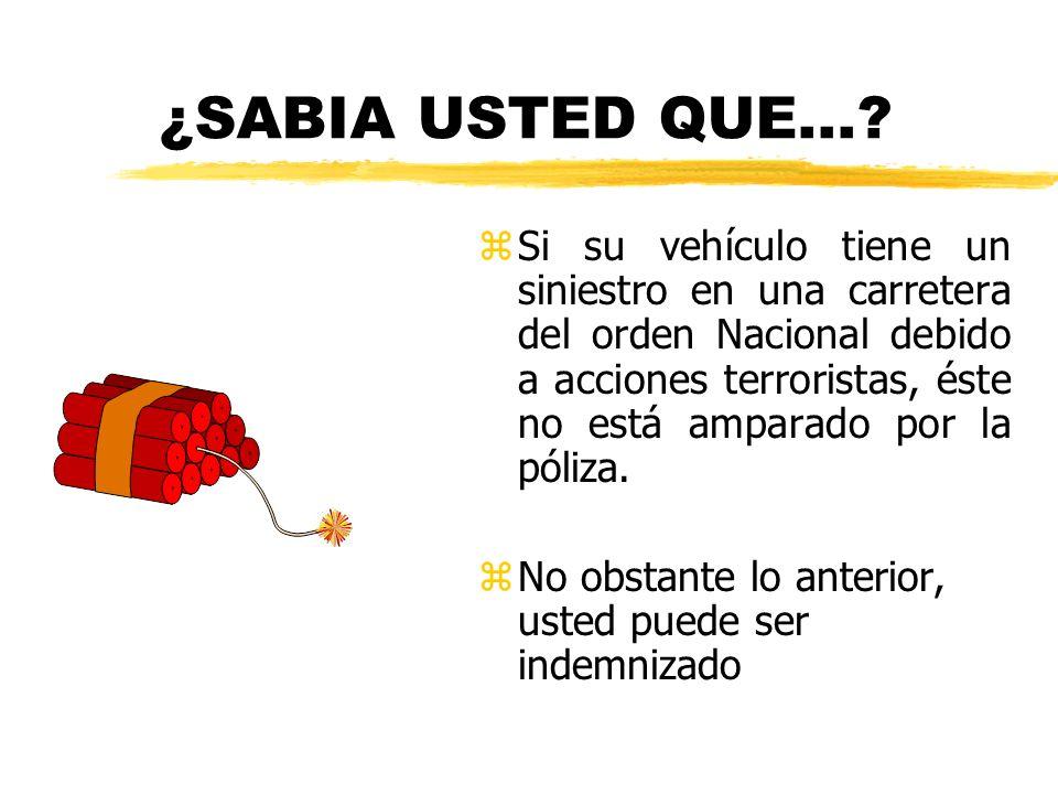 ¿SABIA USTED QUE...? z Si su vehículo tiene un siniestro en una carretera del orden Nacional debido a acciones terroristas, éste no está amparado por