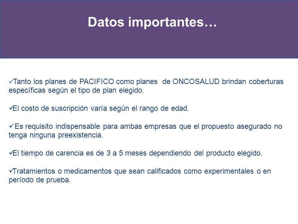 Tanto los planes de PACIFICO como planes de ONCOSALUD brindan coberturas específicas según el tipo de plan elegido. El costo de suscripción varía segú