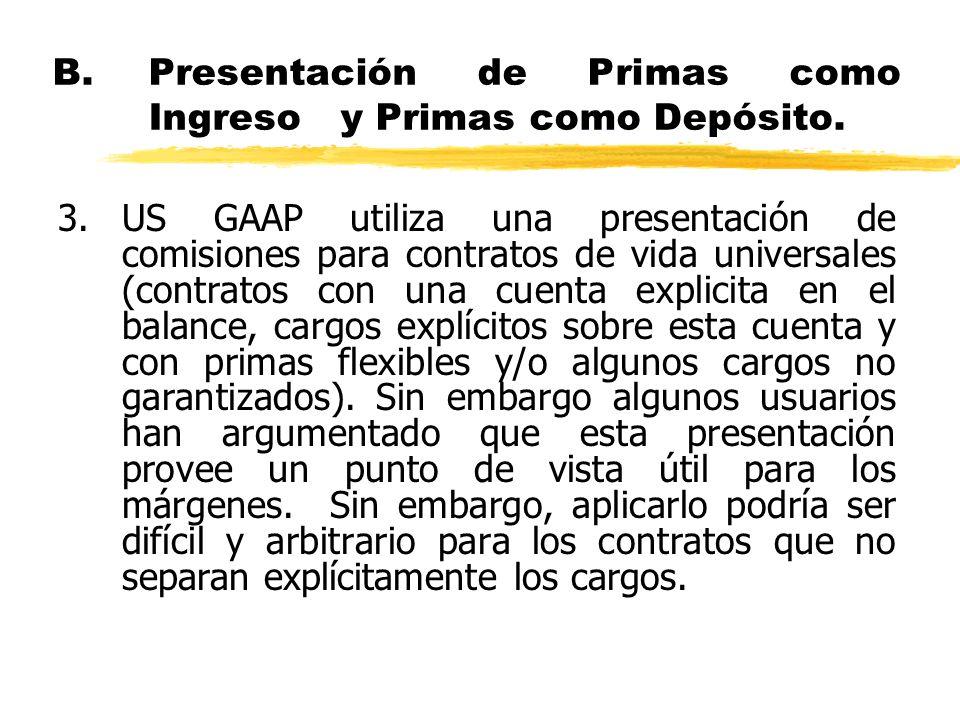 B.Presentación de Primas como Ingreso y Primas como Depósito. 3.US GAAP utiliza una presentación de comisiones para contratos de vida universales (con