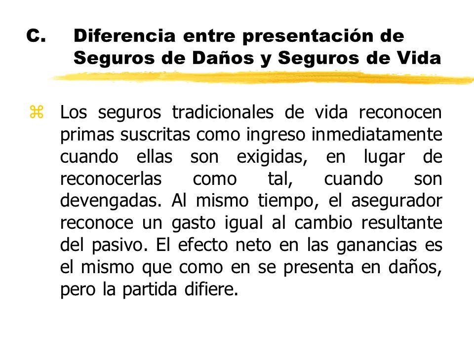 C.Diferencia entre presentación de Seguros de Daños y Seguros de Vida zLos seguros tradicionales de vida reconocen primas suscritas como ingreso inmed