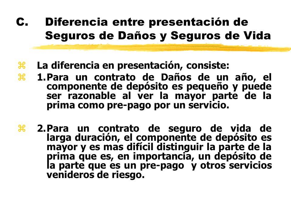 C.Diferencia entre presentación de Seguros de Daños y Seguros de Vida zLa diferencia en presentación, consiste: z1.Para un contrato de Daños de un año