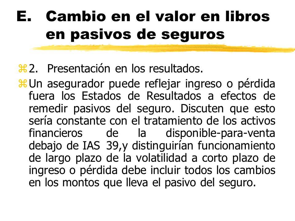 E.Cambio en el valor en libros en pasivos de seguros z2.Presentación en los resultados. zUn asegurador puede reflejar ingreso o pérdida fuera los Esta