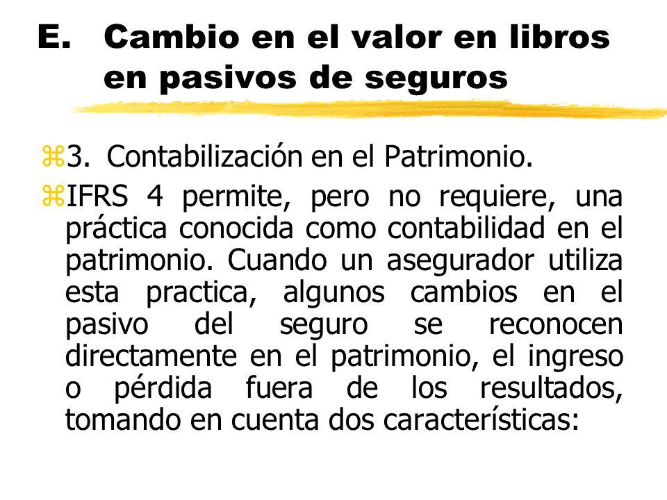 E.Cambio en el valor en libros en pasivos de seguros z3.Contabilización en el Patrimonio. zIFRS 4 permite, pero no requiere, una práctica conocida com