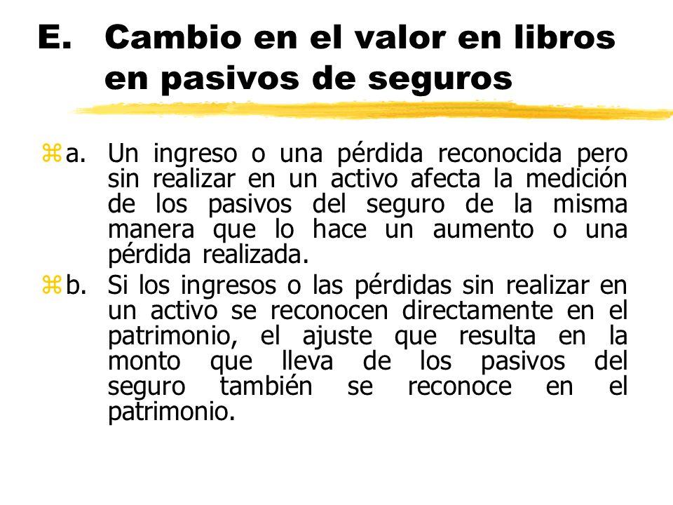 E.Cambio en el valor en libros en pasivos de seguros za.Un ingreso o una pérdida reconocida pero sin realizar en un activo afecta la medición de los p