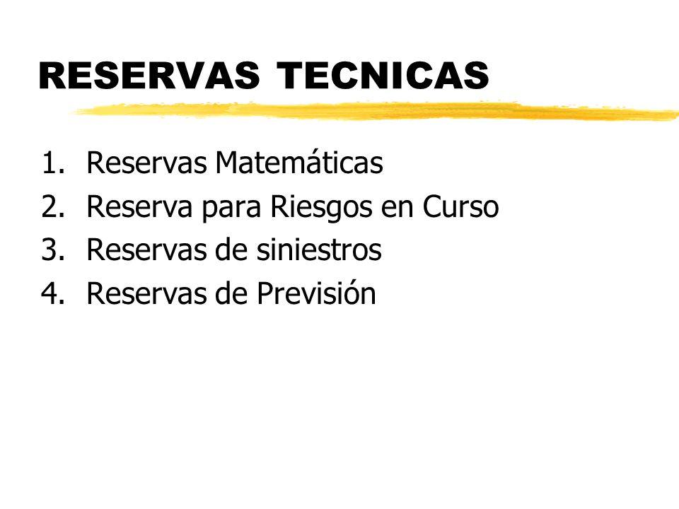 RESERVAS TECNICAS 1.Reservas Matemáticas 2.Reserva para Riesgos en Curso 3.Reservas de siniestros 4.Reservas de Previsión