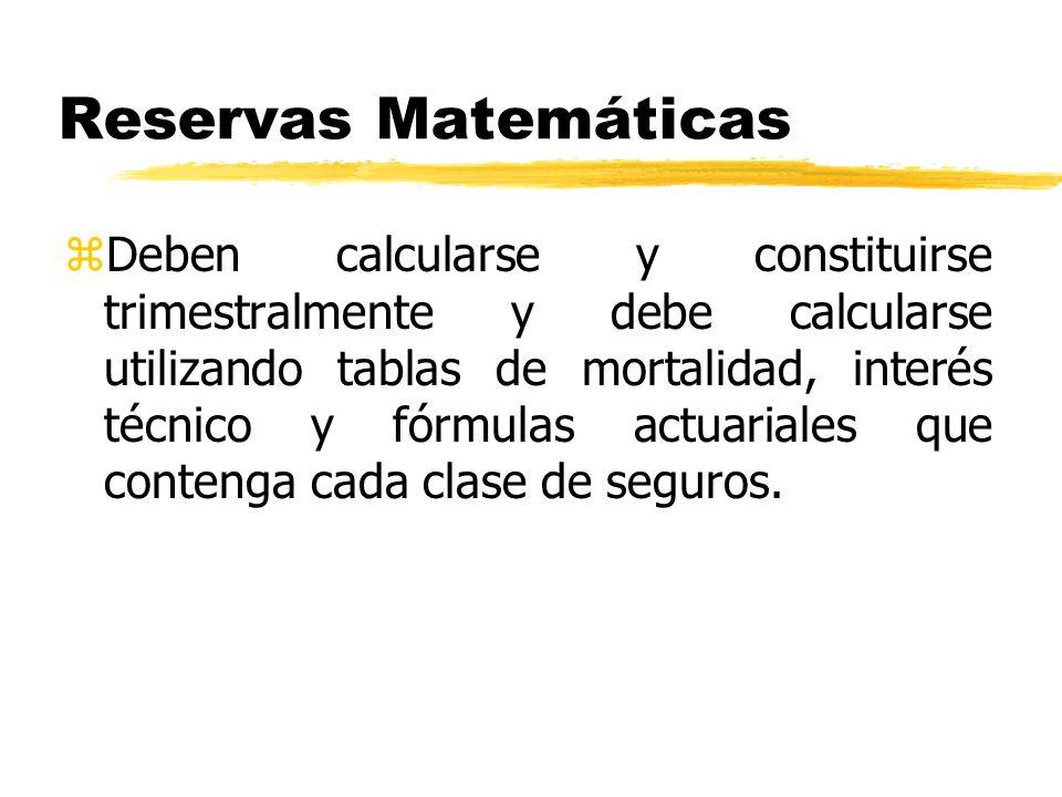 Reservas Matemáticas zDeben calcularse y constituirse trimestralmente y debe calcularse utilizando tablas de mortalidad, interés técnico y fórmulas ac
