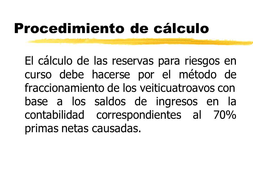 Procedimiento de cálculo El cálculo de las reservas para riesgos en curso debe hacerse por el método de fraccionamiento de los veiticuatroavoscon base