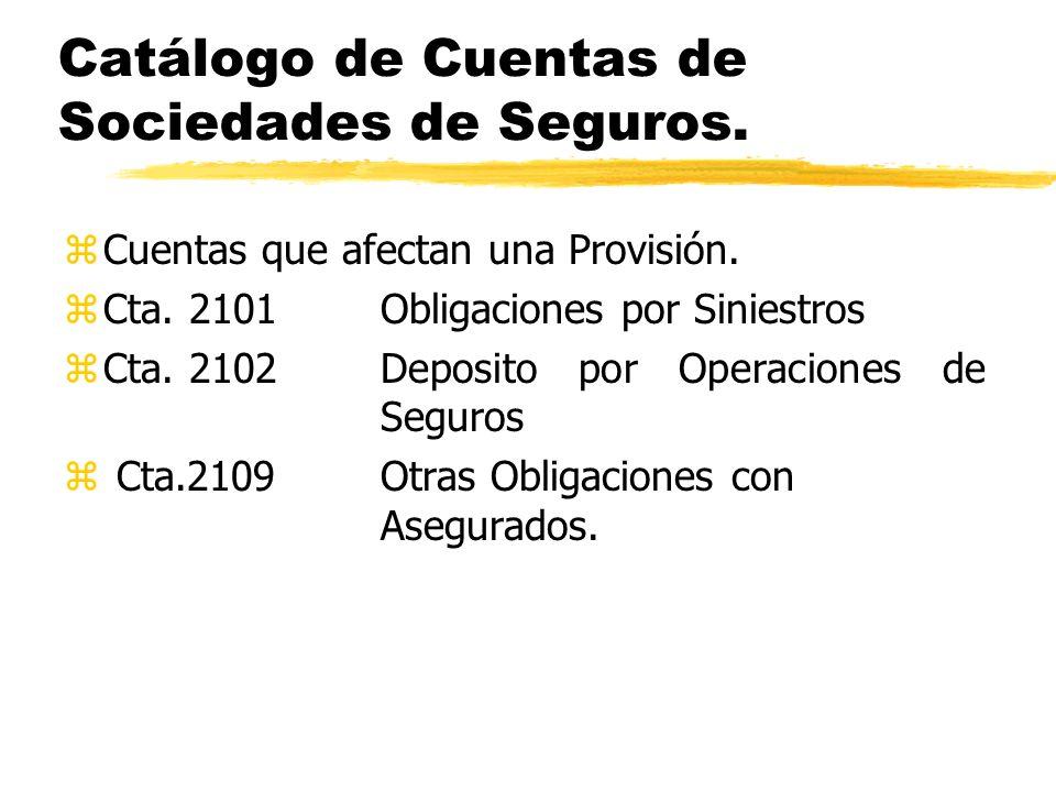 Catálogo de Cuentas de Sociedades de Seguros. zCuentas que afectan una Provisión. zCta. 2101Obligaciones por Siniestros zCta. 2102Deposito por Operaci