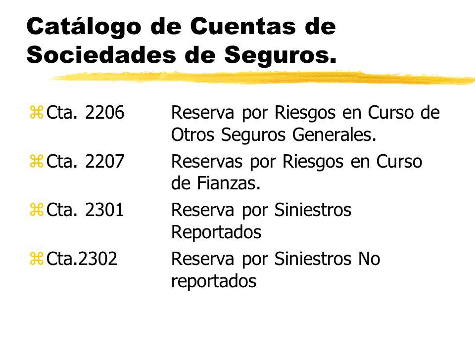 Catálogo de Cuentas de Sociedades de Seguros. zCta. 2206Reserva por Riesgos en Curso de Otros Seguros Generales. zCta. 2207Reservas por Riesgos en Cur