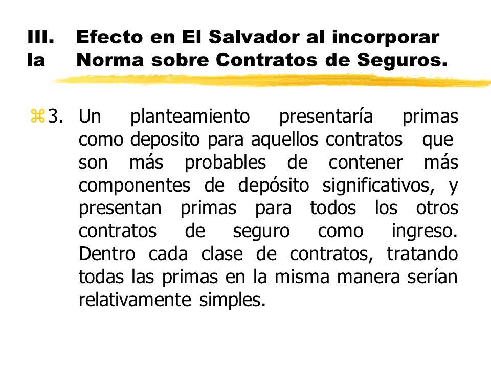 III.Efecto en El Salvador al incorporar la Norma sobre Contratos de Seguros. z3.Un planteamiento presentaría primas como deposito para aquellos contra