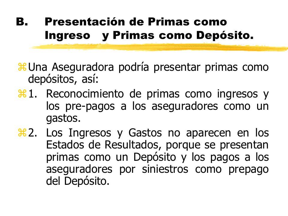 B.Presentación de Primas como Ingreso y Primas como Depósito. zUna Aseguradora podría presentar primas como depósitos, así: z1.Reconocimiento de prima