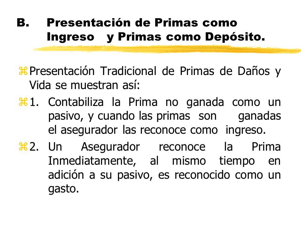 B.Presentación de Primas como Ingreso y Primas como Depósito. zPresentación Tradicional de Primas de Daños y Vida se muestran así: z1.Contabiliza la P