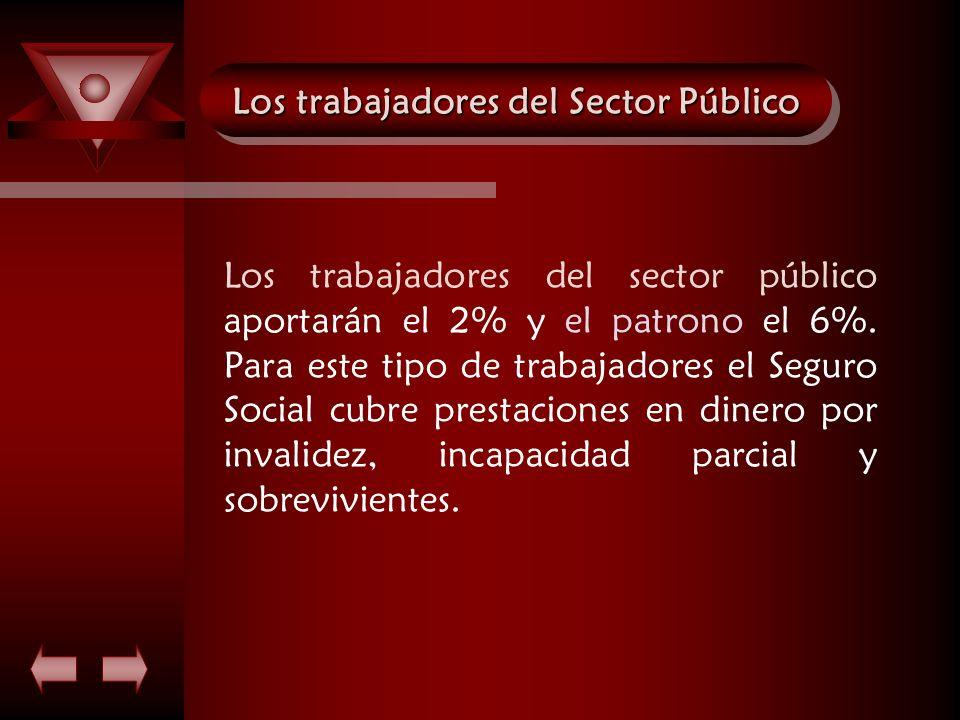 Los trabajadores del Sector Público Los trabajadores del sector público aportarán el 2% y el patrono el 6%. Para este tipo de trabajadores el Seguro S