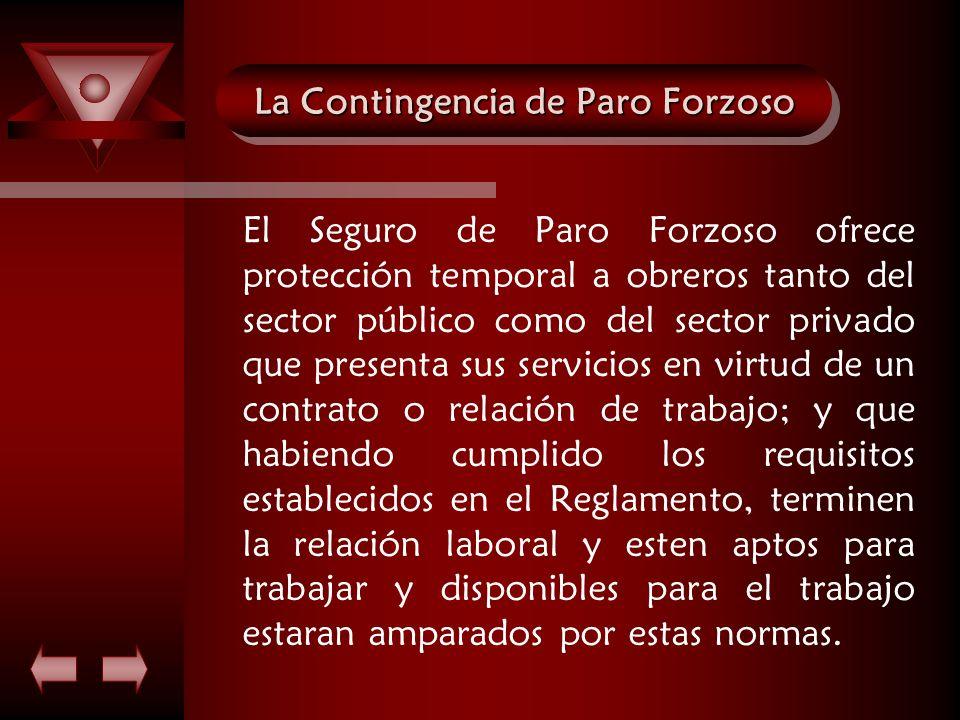 La Contingencia de Paro Forzoso El Seguro de Paro Forzoso ofrece protección temporal a obreros tanto del sector público como del sector privado que pr