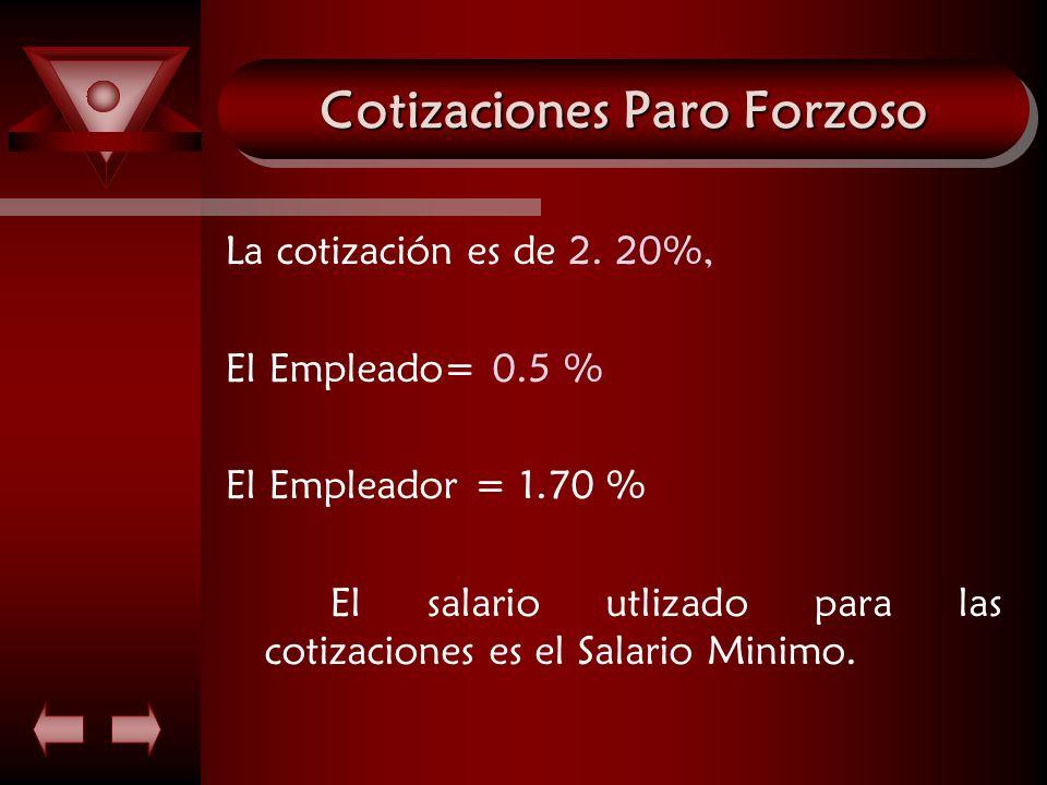 Cotizaciones Paro Forzoso La cotización es de 2. 20%, El Empleado= 0.5 % El Empleador = 1.70 % El salario utlizado para las cotizaciones es el Salario