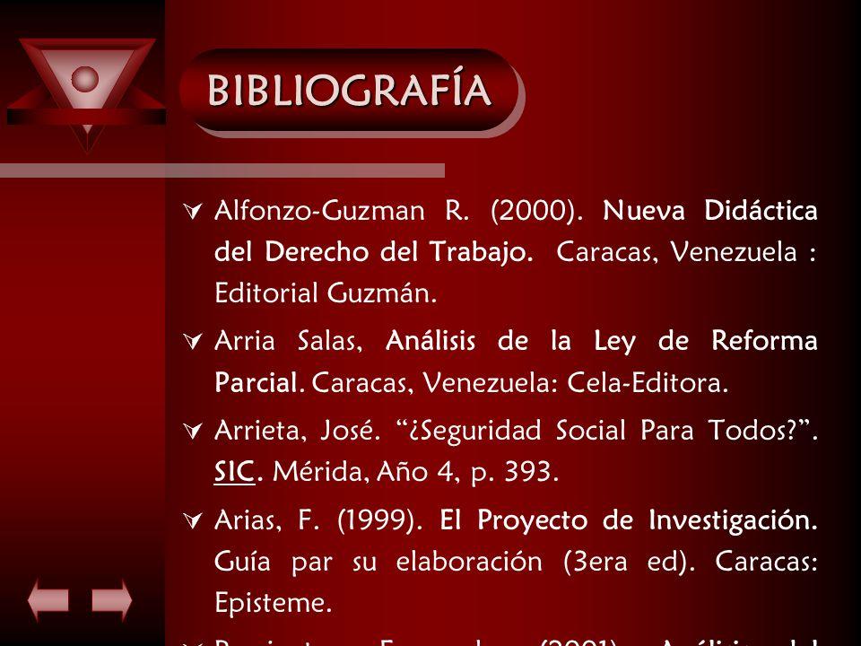BIBLIOGRAFÍABIBLIOGRAFÍA Alfonzo-Guzman R. (2000). Nueva Didáctica del Derecho del Trabajo. Caracas, Venezuela : Editorial Guzmán. Arria Salas, Anális