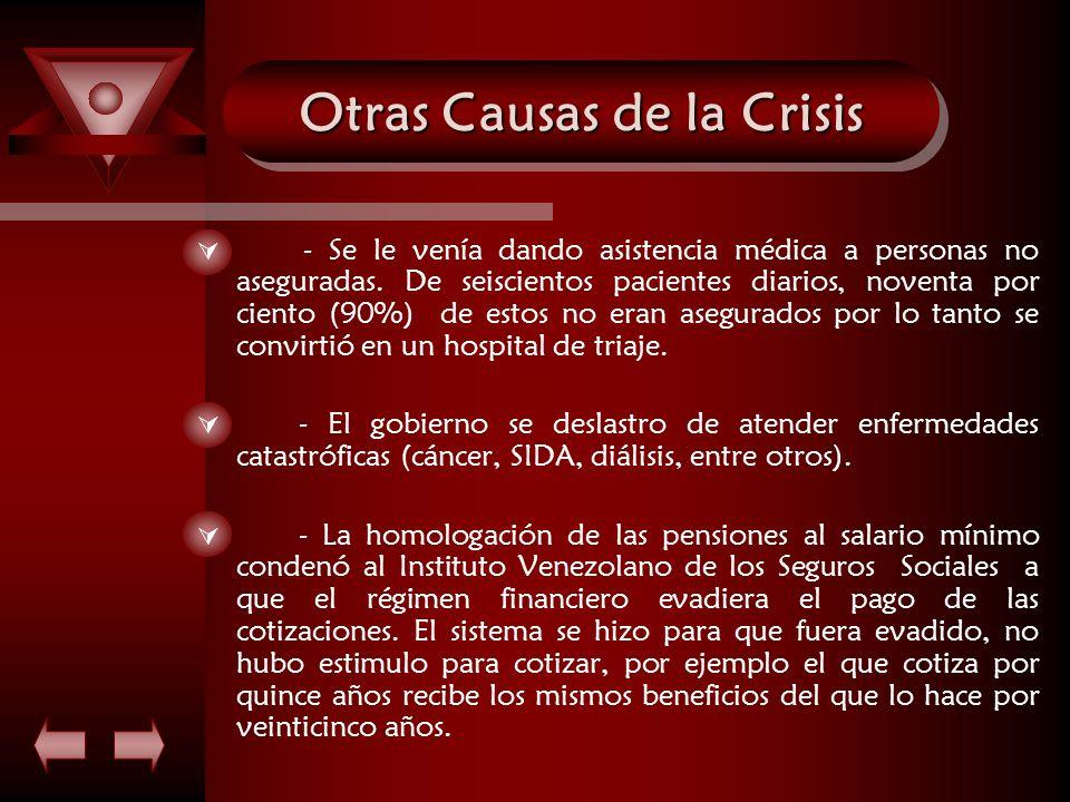 Otras Causas de la Crisis - Se le venía dando asistencia médica a personas no aseguradas. De seiscientos pacientes diarios, noventa por ciento (90%) d