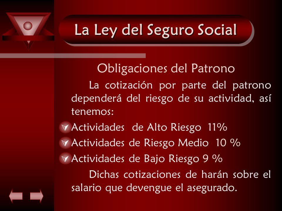 La Ley del Seguro Social Obligaciones del Patrono La cotización por parte del patrono dependerá del riesgo de su actividad, así tenemos: Actividades d