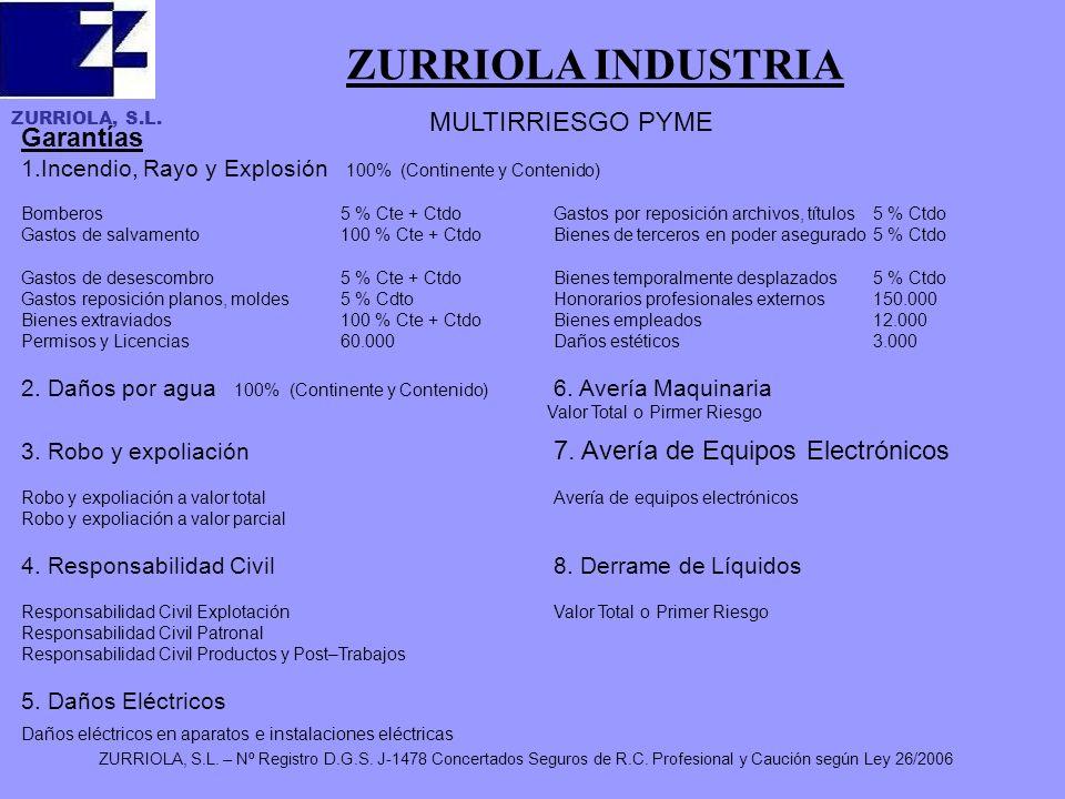 ZURRIOLA, S.L. ZURRIOLA, S.L. – Nº Registro D.G.S. J-1478 Concertados Seguros de R.C. Profesional y Caución según Ley 26/2006 ZURRIOLA INDUSTRIA Garan