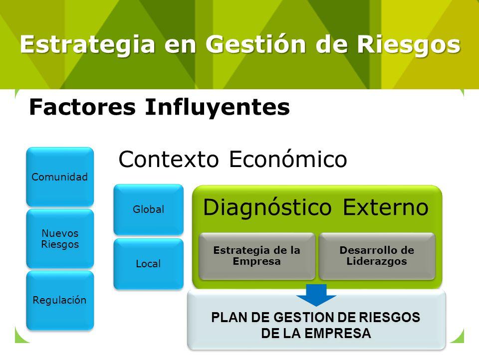 Factores Influyentes Comunidad Nuevos Riesgos Regulación Contexto Económico GlobalLocal Diagnóstico Externo Estrategia de la Empresa Desarrollo de Lid