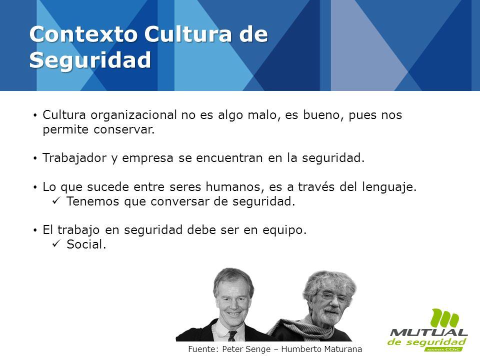 Contexto Cultura de Seguridad Cultura organizacional no es algo malo, es bueno, pues nos permite conservar. Trabajador y empresa se encuentran en la s