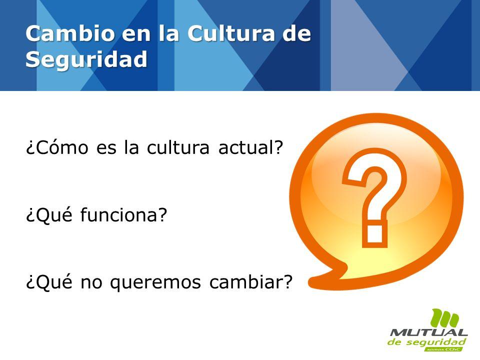 ¿Cómo es la cultura actual? ¿Qué funciona? ¿Qué no queremos cambiar? Cambio en la Cultura de Seguridad