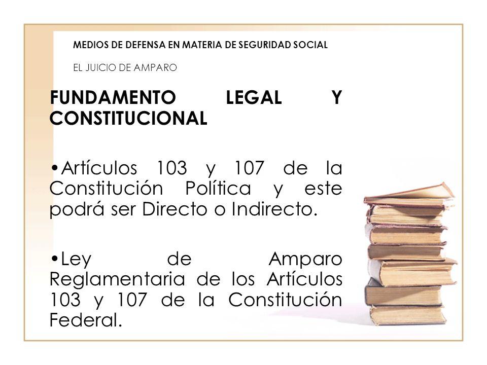 MEDIOS DE DEFENSA EN MATERIA DE SEGURIDAD SOCIAL EL JUICIO DE AMPARO FUNDAMENTO LEGAL Y CONSTITUCIONAL Artículos 103 y 107 de la Constitución Política