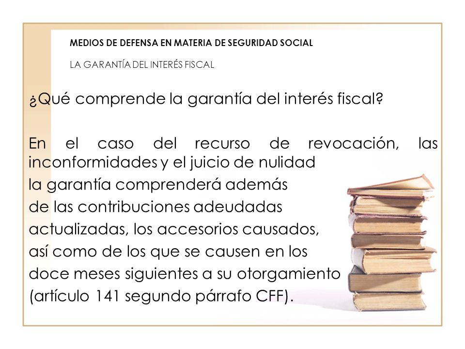 MEDIOS DE DEFENSA EN MATERIA DE SEGURIDAD SOCIAL LA GARANTÍA DEL INTERÉS FISCAL ¿Qué comprende la garantía del interés fiscal? En el caso del recurso