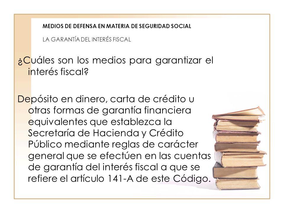 MEDIOS DE DEFENSA EN MATERIA DE SEGURIDAD SOCIAL LA GARANTÍA DEL INTERÉS FISCAL ¿Cuáles son los medios para garantizar el interés fiscal? Depósito en
