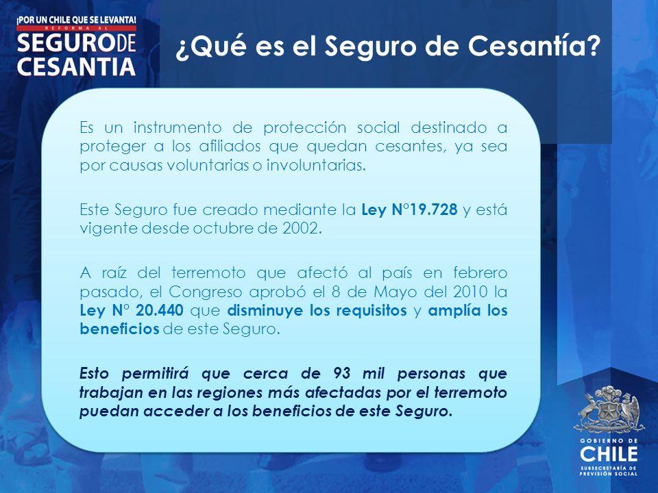 ¿Qué es el Seguro de Cesantía? Es un instrumento de protección social destinado a proteger a los afiliados que quedan cesantes, ya sea por causas volu