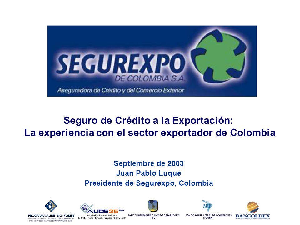 Septiembre de 2003 Juan Pablo Luque Presidente de Segurexpo, Colombia Seguro de Crédito a la Exportación: La experiencia con el sector exportador de Colombia