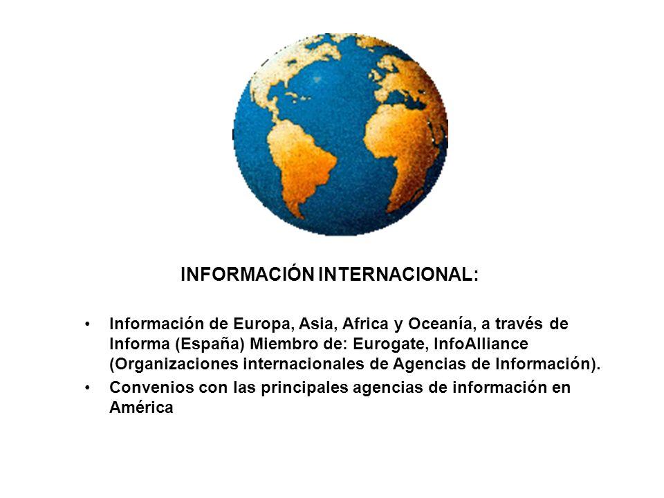 Informa es una empresa dedicada a suministrar información económica y financiera de empresas y empresarios nacionales y del exterior, para aumentar el