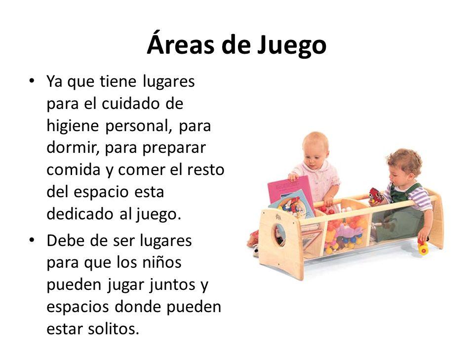 Áreas de Juego Ya que tiene lugares para el cuidado de higiene personal, para dormir, para preparar comida y comer el resto del espacio esta dedicado al juego.