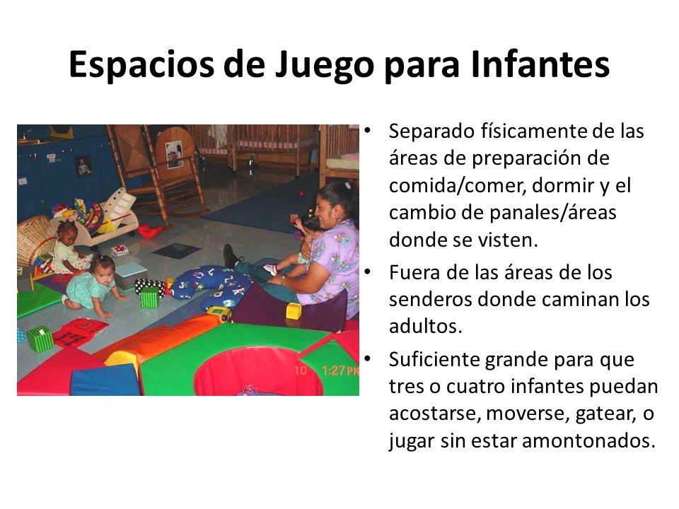 Espacios de Juego para Infantes Separado físicamente de las áreas de preparación de comida/comer, dormir y el cambio de panales/áreas donde se visten.