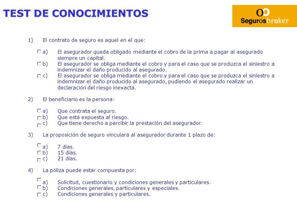 TEST DE CONOCIMIENTOS 1)El contrato de seguro es aquel en el que: a)El asegurador queda obligado mediante el cobro de la prima a pagar al asegurado si