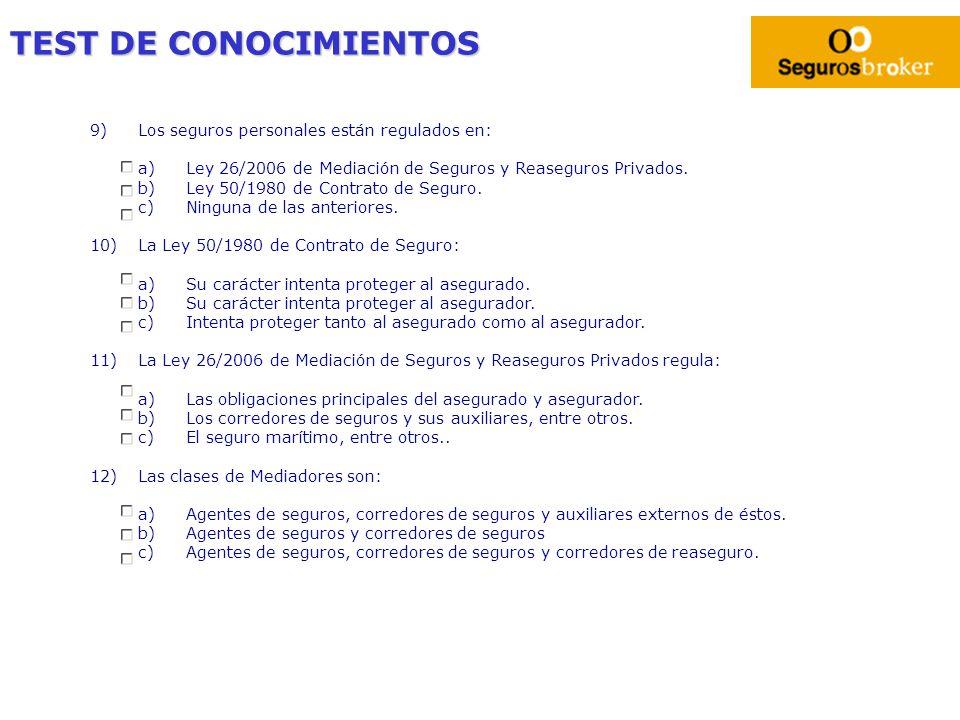 TEST DE CONOCIMIENTOS 9)Los seguros personales están regulados en: a)Ley 26/2006 de Mediación de Seguros y Reaseguros Privados. b)Ley 50/1980 de Contr