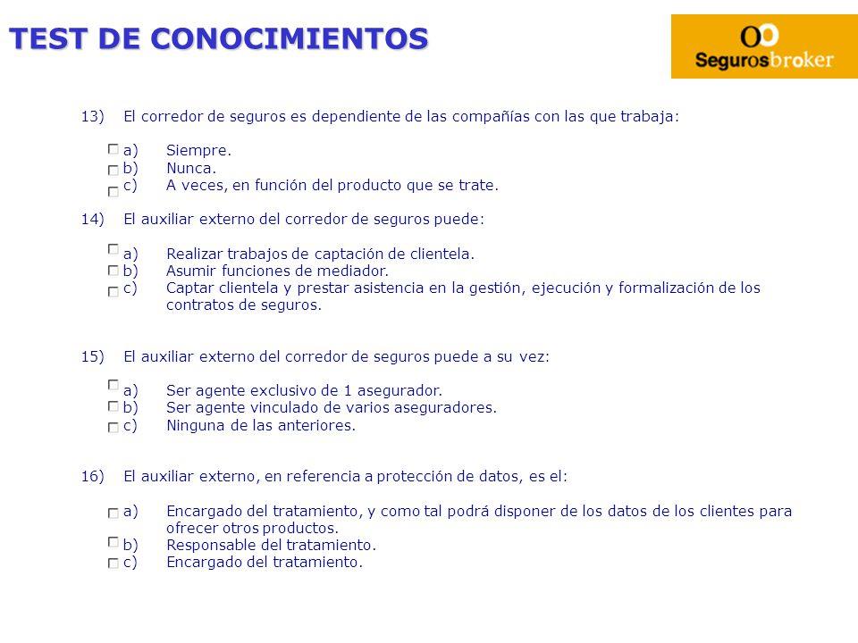 TEST DE CONOCIMIENTOS 13)El corredor de seguros es dependiente de las compañías con las que trabaja: a)Siempre. b)Nunca. c)A veces, en función del pro
