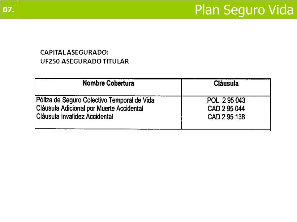 07. Plan Seguro Vida CAPITAL ASEGURADO: UF250 ASEGURADO TITULAR