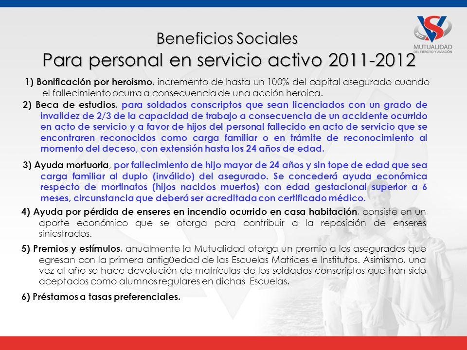 Para personal en servicio activo 2011-2012 1) Bonificación por heroísmo, incremento de hasta un 100% del capital asegurado cuando el fallecimiento ocurra a consecuencia de una acción heroica.